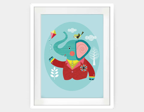 Enzo the Elephant Framed Art by Ellen Giggenbach - Large / White