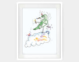 Jumping Dragon Framed Art by Julie Parker - Large / White