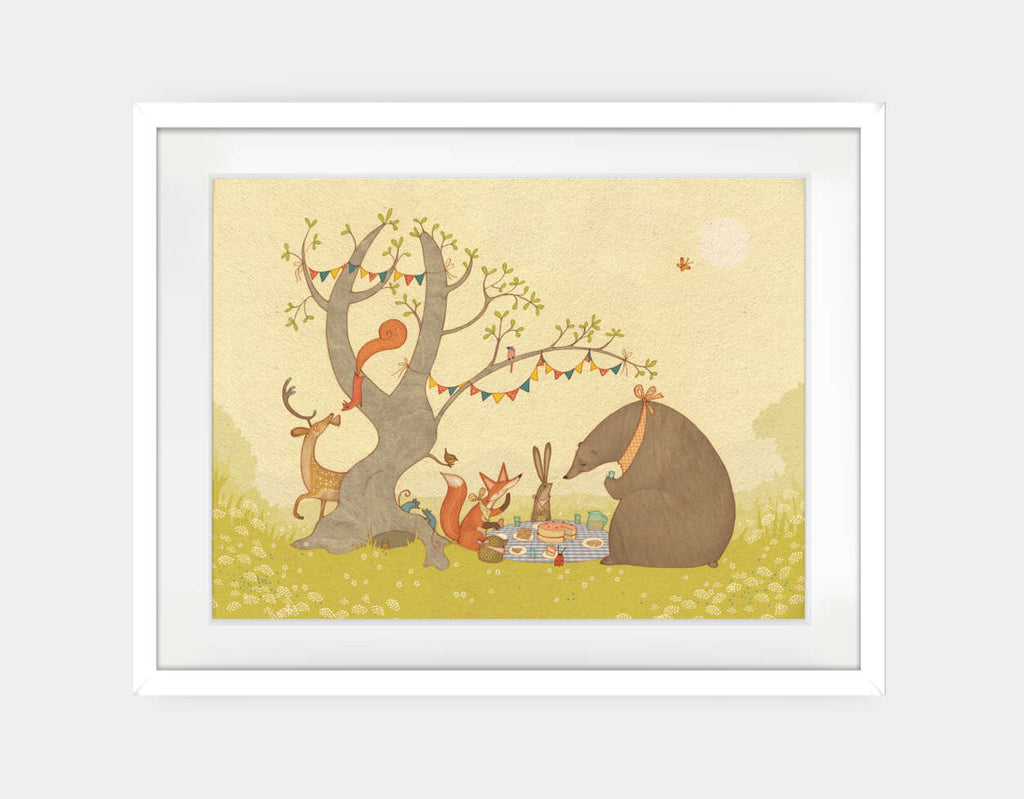 Picnic Under the Tree Framed Art by Alexandra Ball - Large / White