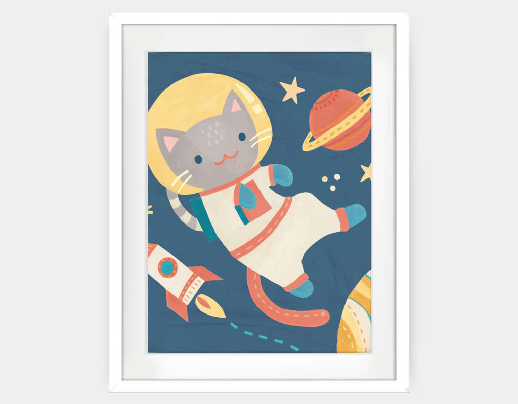 Cat Astronaut Framed Art by Irene Chan - Large / White
