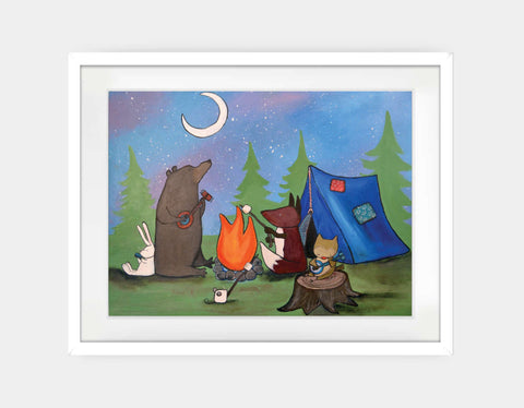 Camping with Friends Framed Art by Andrea Doss - Large / White