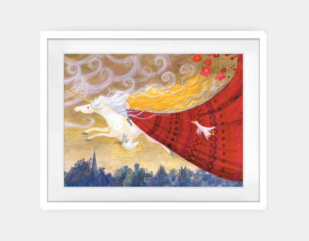 Flying Through the Evening Framed Art by Rose Clayton - Large / White