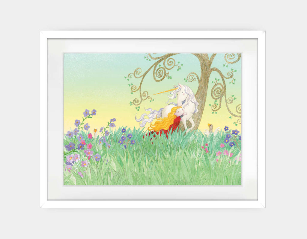 The Princess and the Unicorn Framed Art by Rose Clayton - Large / White
