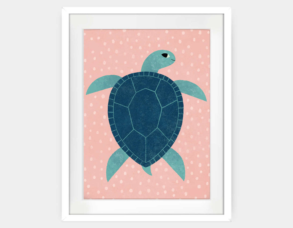 Smiling Sea Turtle Framed Art by Emily Dove - Large / White