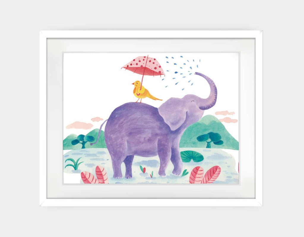 Little Bird and Elephant Framed Art by Betânia Sensini - Large / White