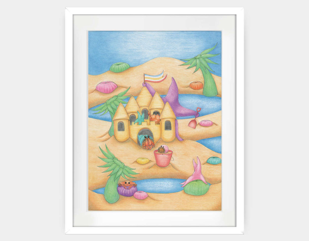 Sandcastle Star Framed Art by Maura Stockton Wang - Large / White