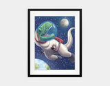 Spacewalk Rex Framed Art by Barry Gott - Medium / Black