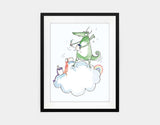 Artistic Dragon Framed Art by Julie Parker - Medium / Black