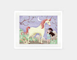A Girl and Her Unicorn Framed Art by Valentina Belloni - Medium / White
