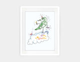 Jumping Dragon Framed Art by Julie Parker - Medium / White