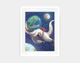 Spacewalk Rex Framed Art by Barry Gott - Medium / White