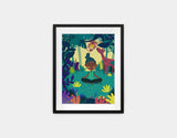 Lotus Pose Framed Art by Alexandra Petracchi - Small / Black