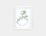 Artistic Dragon Framed Art by Julie Parker - Small / White