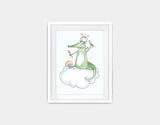 Balancing Dragon Framed Art by Julie Parker - Small / White