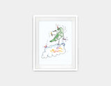 Jumping Dragon Framed Art by Julie Parker - Small / White