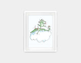 Artistic Dragons Framed Art by Julie Parker - Small / White