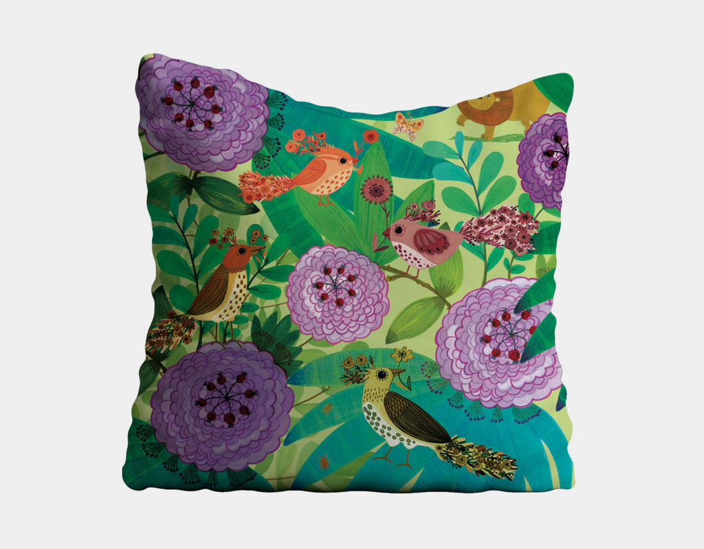Jungle Birds and the Lion Throw Pillow by Kay Widdowson - Main
