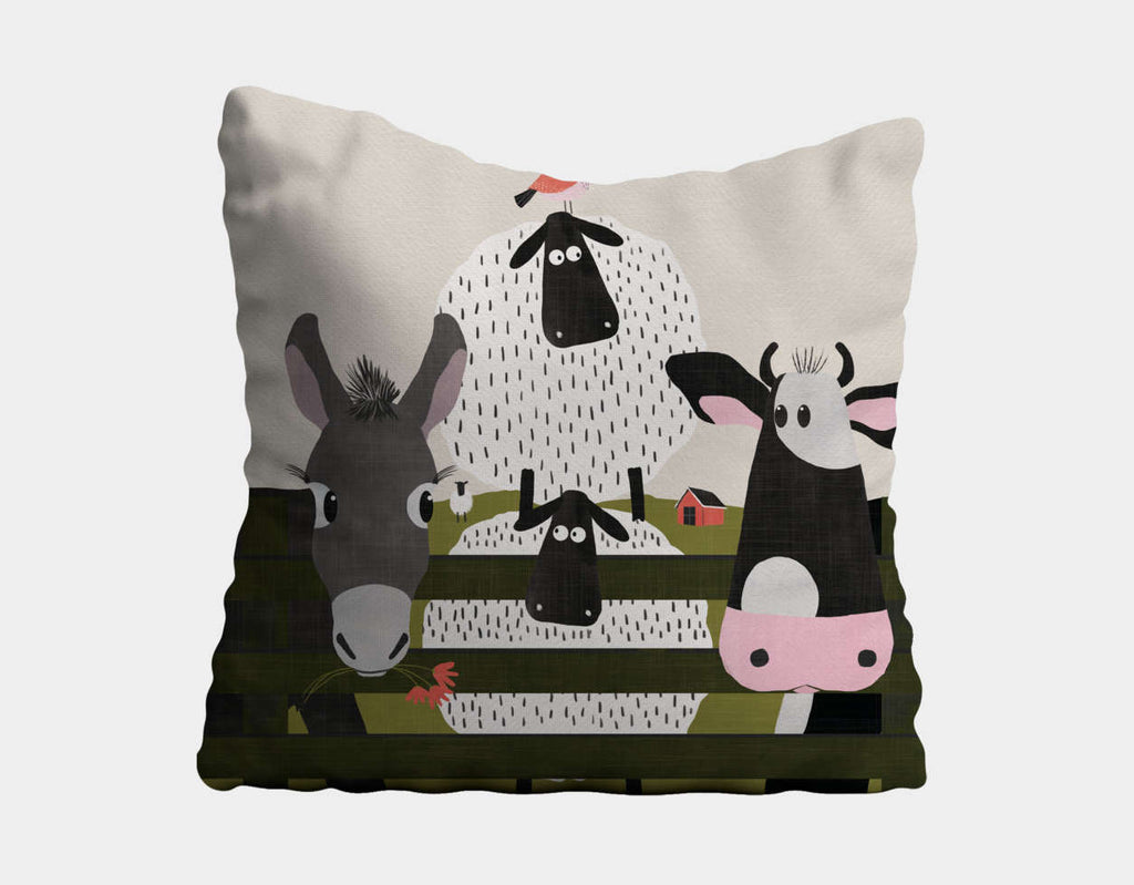 On the Farm Throw Pillow by Mel Armstrong - Main