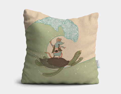 Surfing Pirate-Style Throw Pillow by Alexandra Ball - Main