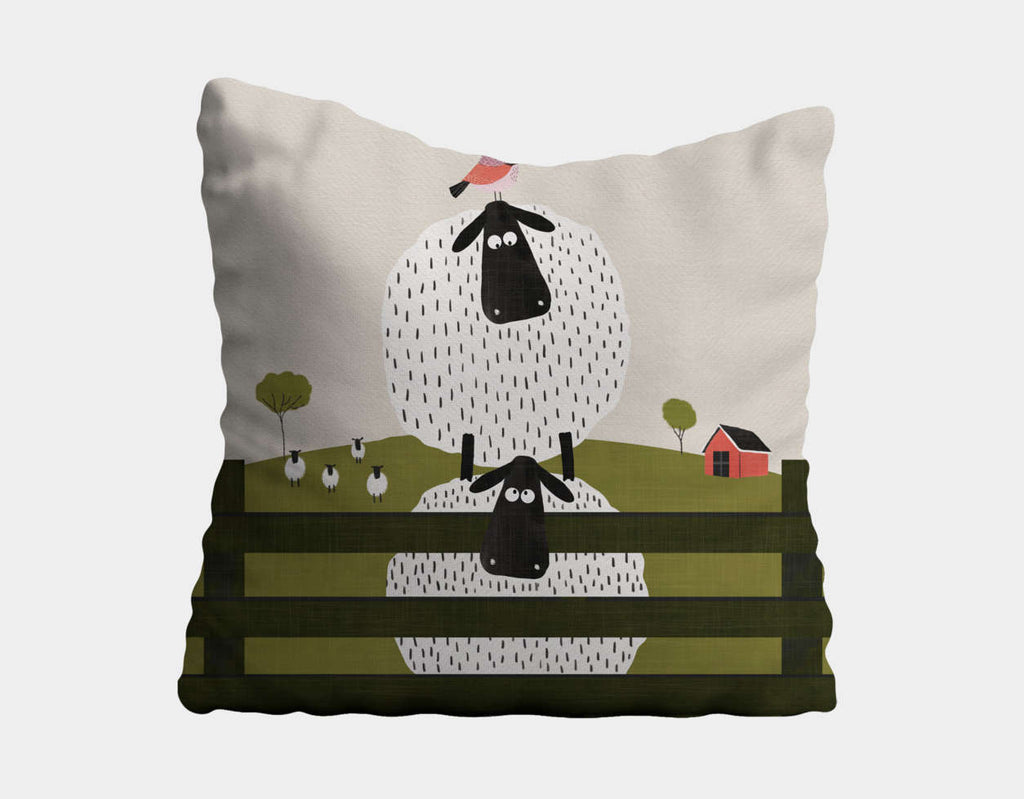 Counting Sheep Throw Pillow by Mel Armstrong - Main