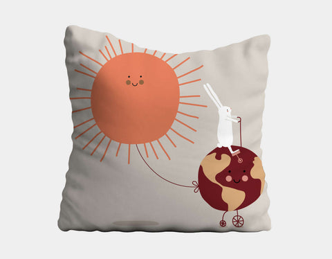 Happy Bunnies and Sunshine Throw Pillow by Sue Downing - Main