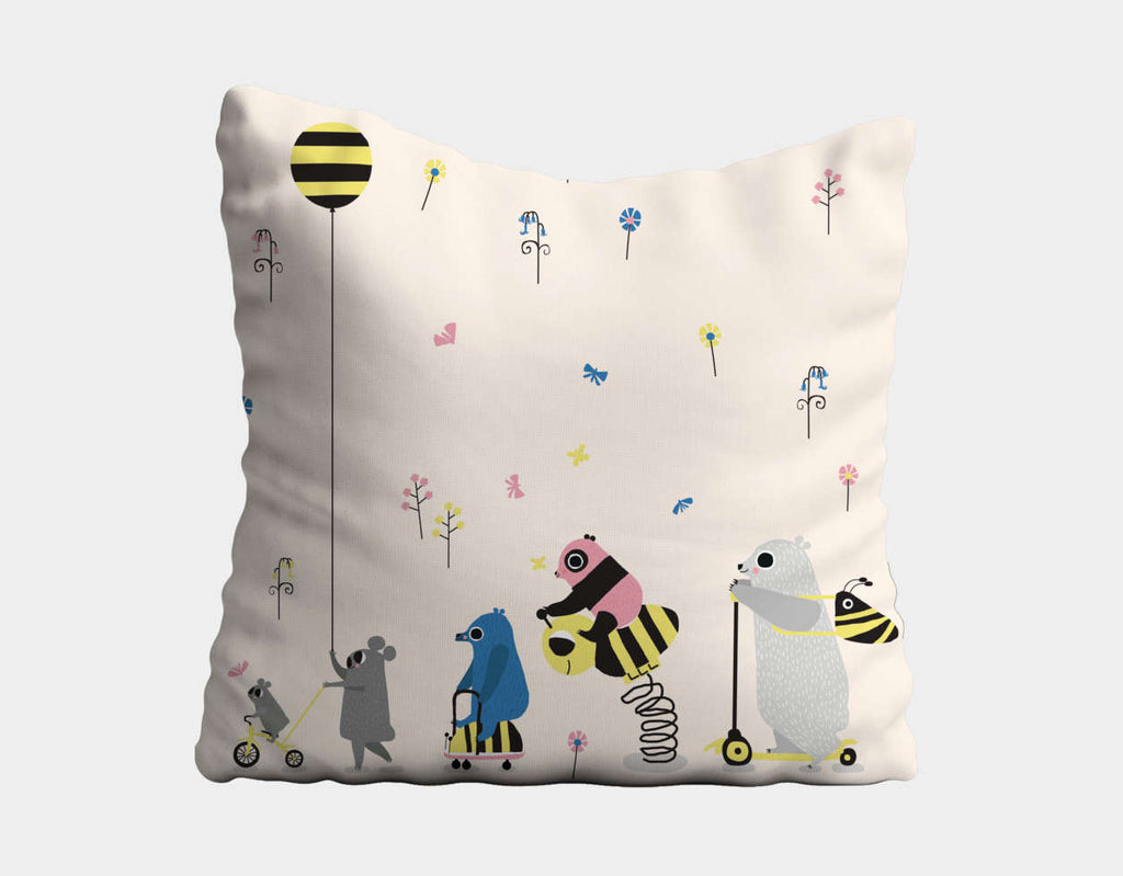 Happy Play Parade Throw Pillow by Sue Downing - Main