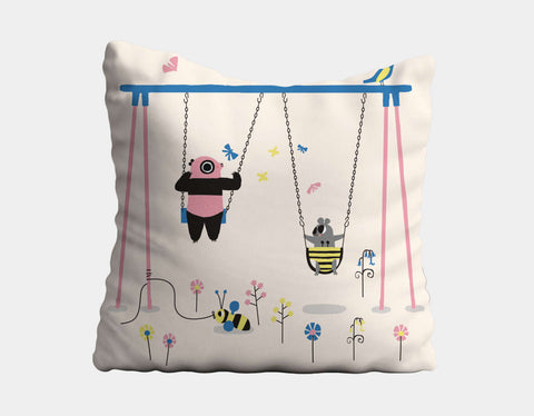 Happy Play Swings Throw Pillow by Sue Downing - Main