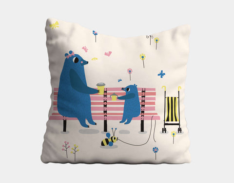 Happy Play Snack Time with Mummy Throw Pillow by Sue Downing - Main