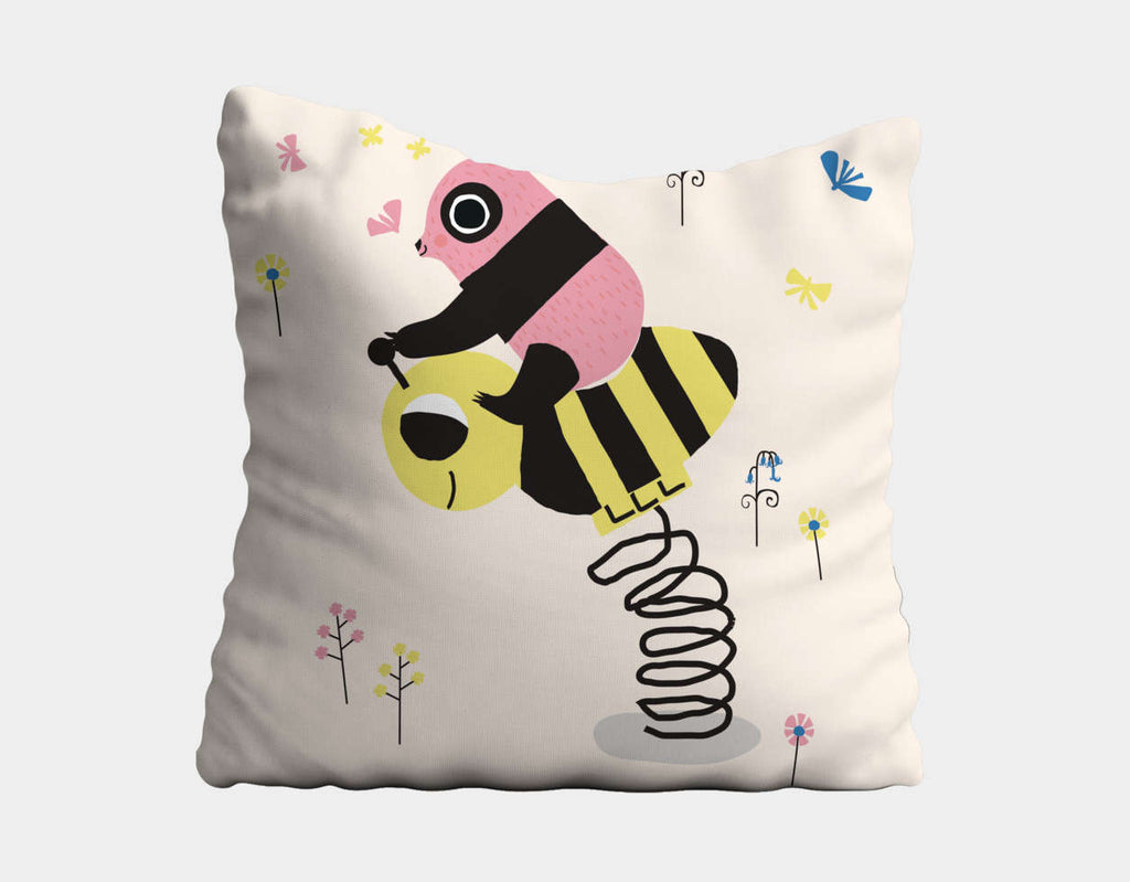 Happy Play Little Pink Panda Throw Pillow by Sue Downing - Main
