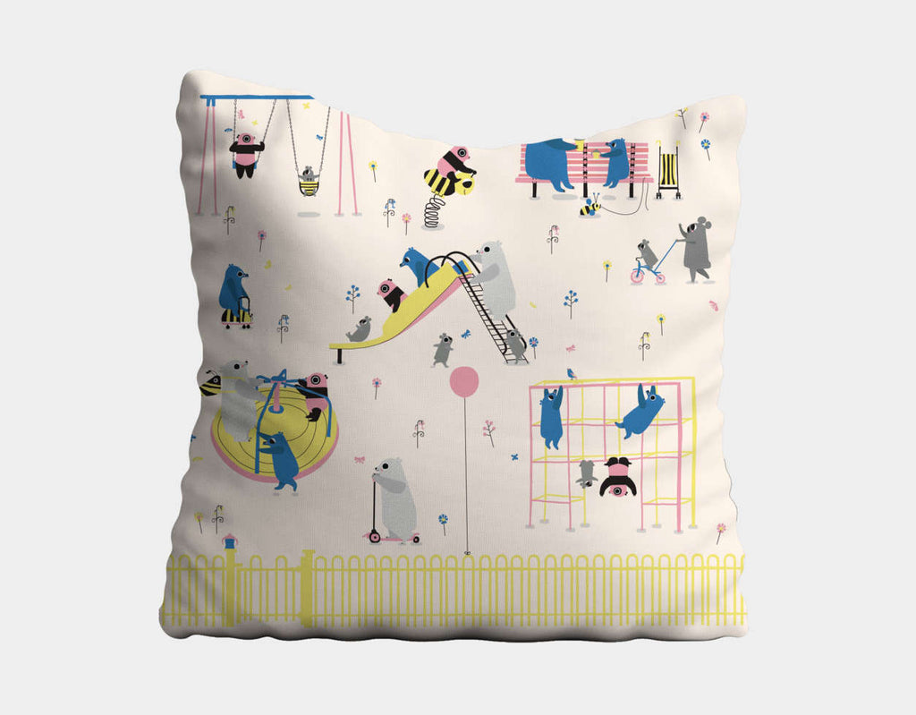 Happy Play Playground Throw Pillow by Sue Downing - Main