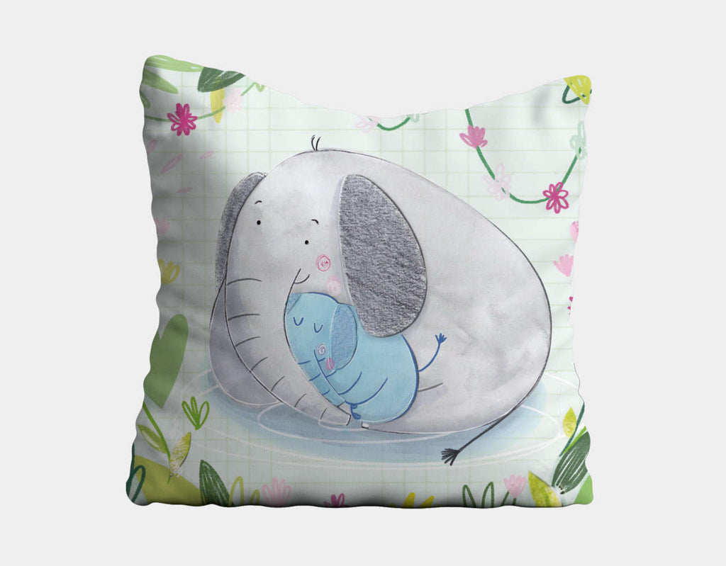 Elephant Cuddles Throw Pillow by Chloe Evans - Main