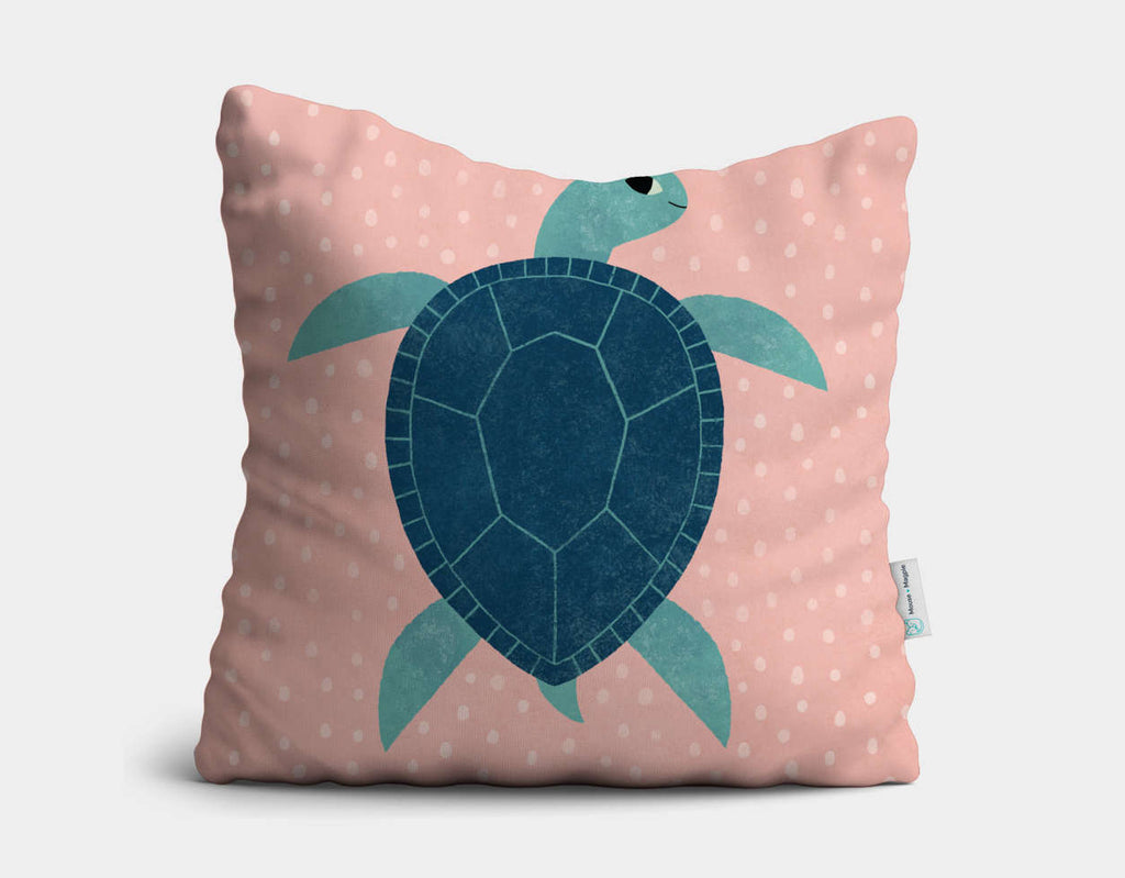 Smiling Sea Turtle Throw Pillow by Emily Dove - Main