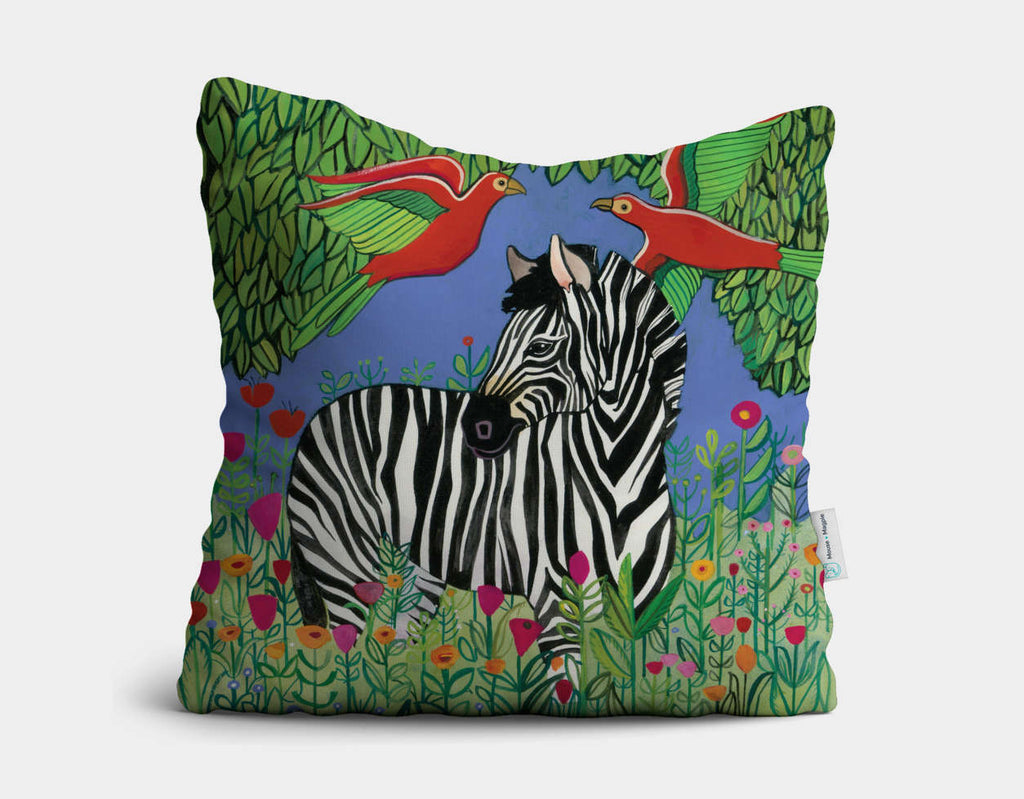 Zebra in the Jungle Throw Pillow by Jenny Reynish - Main