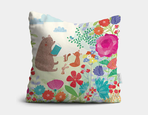 Stories in the Garden Throw Pillow by Emma Talbot - Main