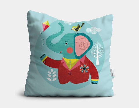 Enzo the Elephant Throw Pillow by Ellen Giggenbach - Main