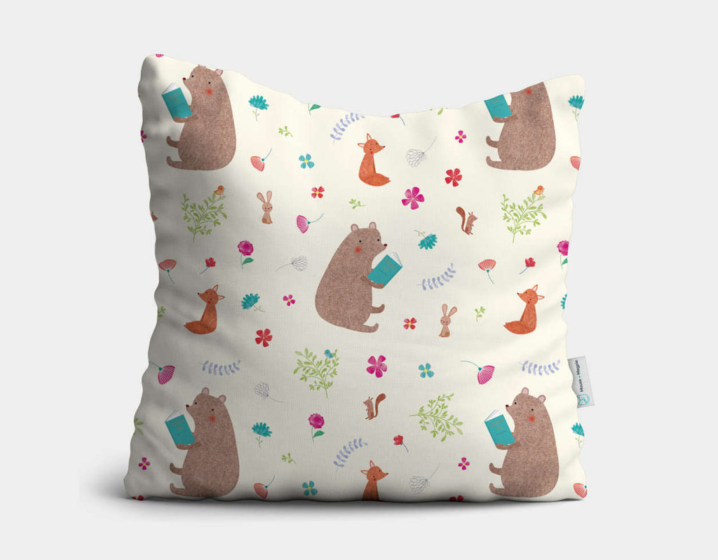 Storytime Pattern Throw Pillow by Emma Talbot - Main