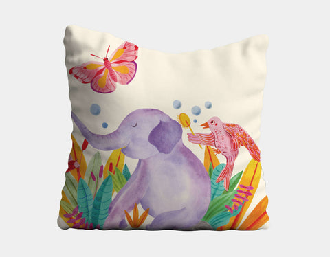 Elephant and Butterfly Throw Pillow by Betânia Sensini - Main