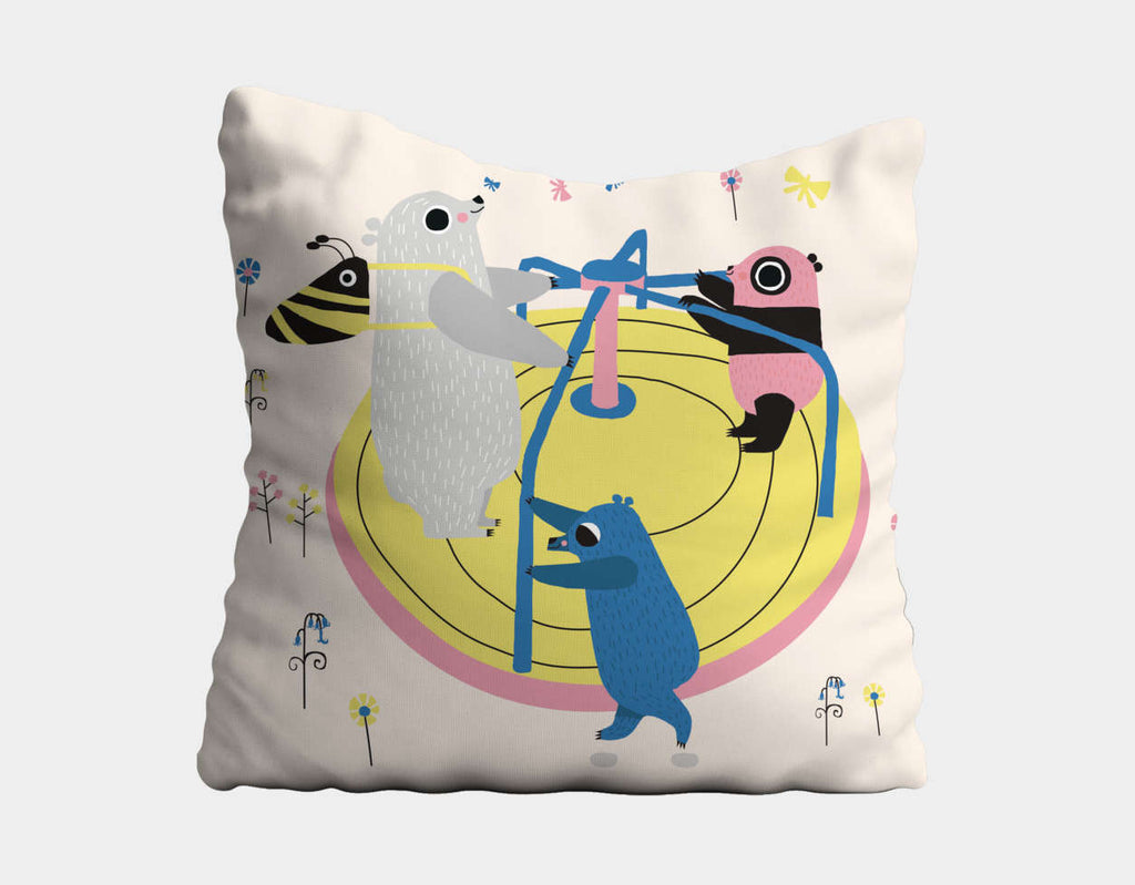 Happy Play Roundabout Throw Pillow by Sue Downing - Main