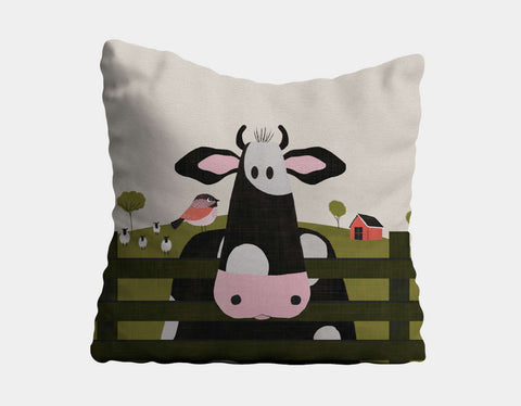 Caley the Cow Throw Pillow by Mel Armstrong - Main