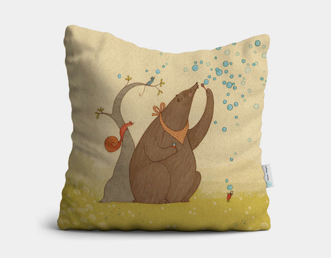 Bear's Bubbles Throw Pillow by Alexandra Ball - Main