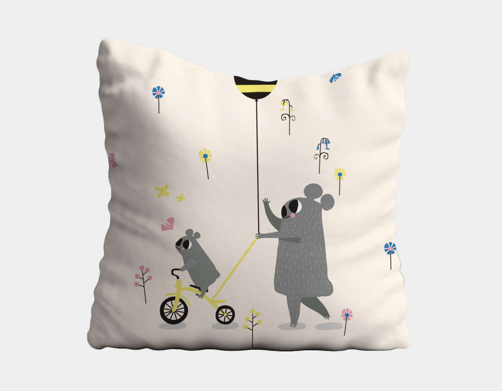 Happy Play Little Koala Bear Throw Pillow by Sue Downing - Main