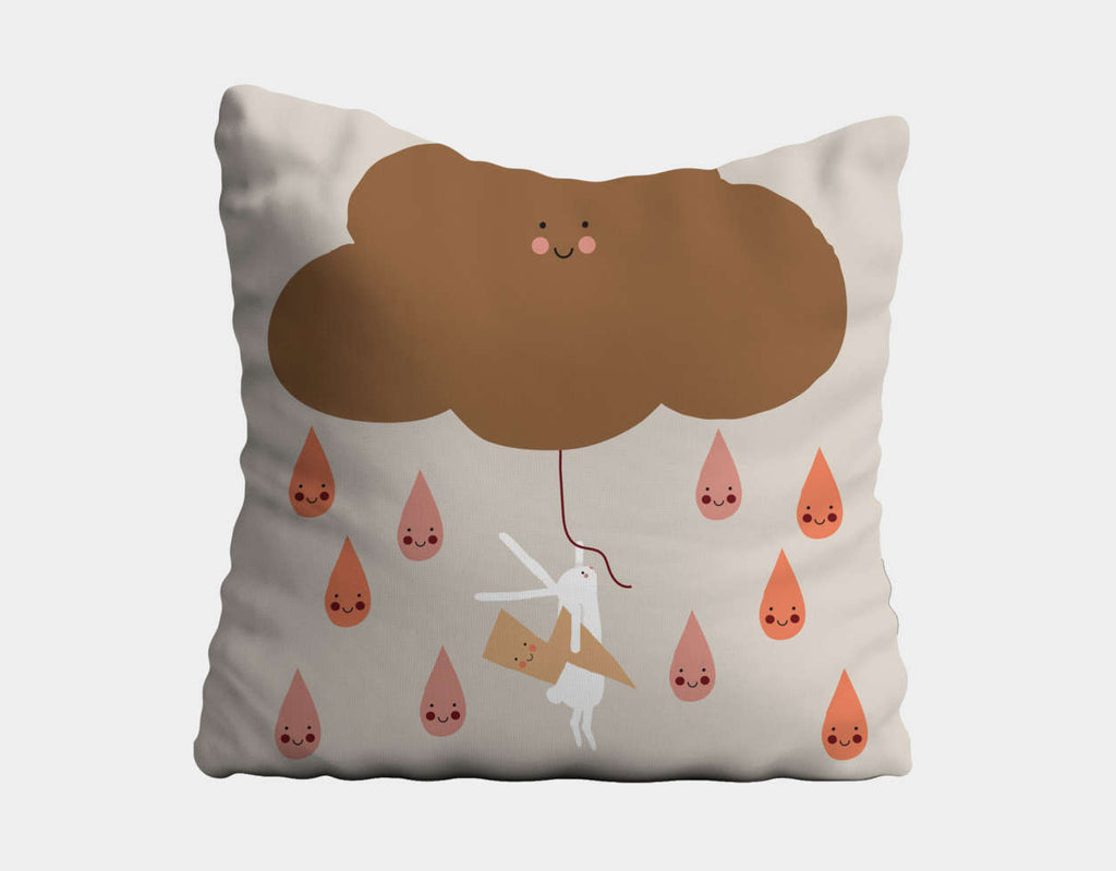 Happy Bunnies and Raindrops Throw Pillow by Sue Downing - Main