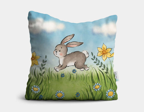 Woodland Rabbit Throw Pillow by Anna Abramskaya - Main