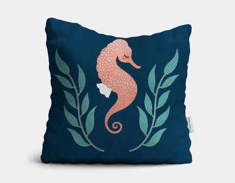 Shy Seahorse Throw Pillow by Emily Dove - Main