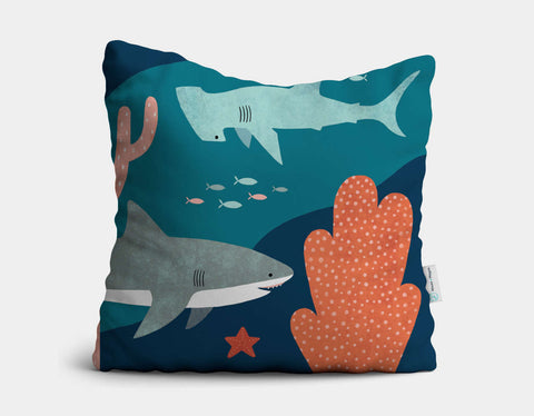 Silly Sharks Throw Pillow by Emily Dove - Main