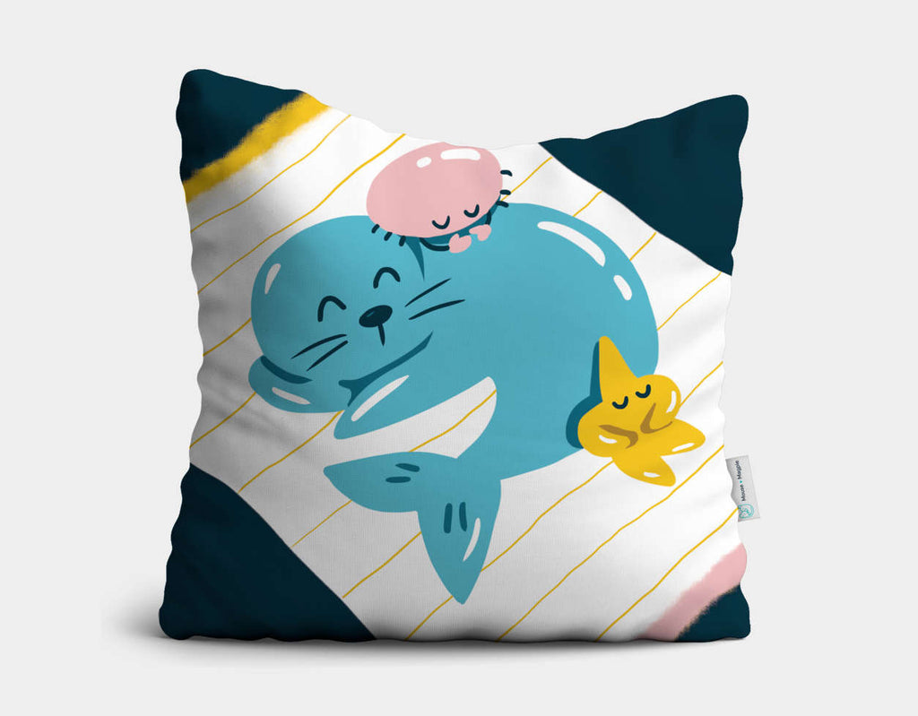 Sleepy Seal Throw Pillow by Kelly Breemer - Main