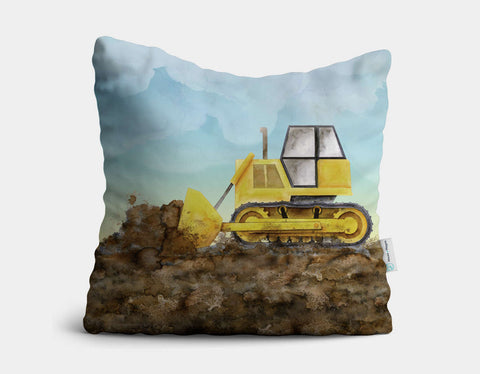 Yellow Bulldozer Throw Pillow by Brett Blumenthal - Main