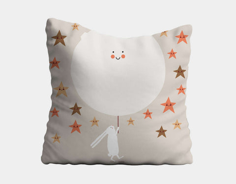 Happy Bunnies and The Stars Throw Pillow by Sue Downing - Main