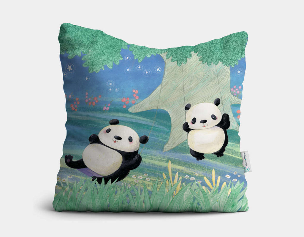 Swinging Pandas Throw Pillow by Rose Clayton - Main