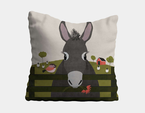 Dolores the Donkey Throw Pillow by Mel Armstrong - Main